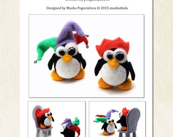 King and Jester Penguins - crochet toy pattern, amigurumi pattern, pdf photo tutorial - NEW