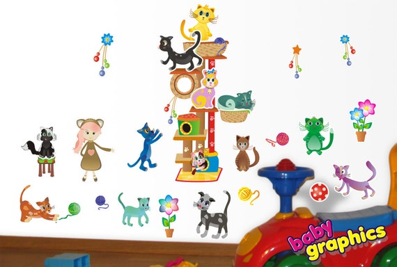 Lovely cats with cat tree removable wall stickers set - removable (by babygraphics)