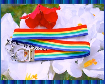Lanyard Gay Pride, Key Fob, Key Ring , Equality LGBT , Rainbow Stripe Ribbon Adjustable Unisex Lanyard, Handmade By: Tranquilityy