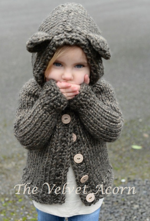 KNITTING PATTERN-The Bladyn Bear Sweater (2, 3/4, 5/6, 7/8, 9/10, 11/12, Smal...