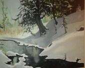 Original landscape of winter brook. stretched canvas. Original.