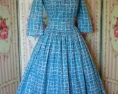 1950s Vintage Day Dress / Novelty Print / Chinese Style Writing / by Rembrandt / Crisp Cotton / Full Skirt / M Medium / 28 Waist