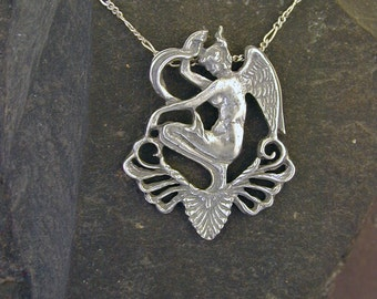 Sterling Silver Large Fairy Pendant on a Sterling Silver Chain