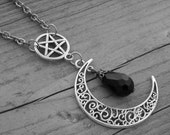 Silver Filigree Crescent Half Moon Pentacle Pentagram Black Crystal Necklace Gothic Goth Witchcraft Occult Witch Craft Wiccan Pagan Wicca