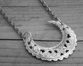 Silver Moon Necklace Silver Moon Jewelry Filigree Moon Crescent Moon Half Moon Gothic Goth Witchcraft Occult Witch Craft Wicca Pagan Wiccan