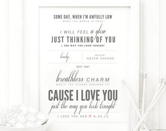 "Frank Sinatra ""The Way You Look Tonight"" - Valentine's, Wedding Gift, Paper Anniversary Gift, Song Lyrics, Art Print"