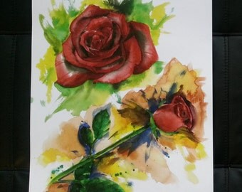 Watercolour Roses A3 Print