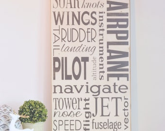 Airplane Subway Art Wood Sign, Children Wall Art, Boy Bedroom Decor, Nursery Sign, Airplane Decor, Pilot Wood Sign, Airplane Sign