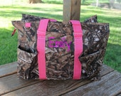 Pink Camo Large Organizer Camoflauge Tote Canvas Bag Personalize or Monogram Included