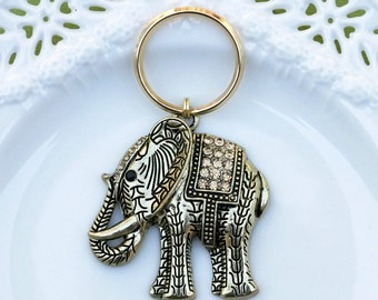 Elephant Keychain, Gold Elephant Keychain, Elephant Rhinestone Keychain, Elephant Keyring, Key Accessories, Gold Elephant Key ring, Elephant
