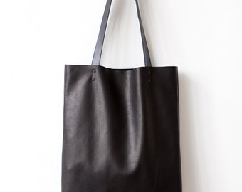 Xmas in July SALE Back To School Simple Black Leather Tote bag No.Tl- 6022