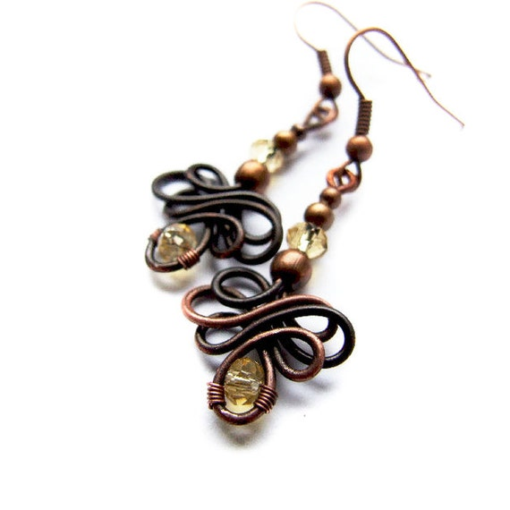 Celtic Knot Earrings, Golden Copper Rustic Earrings, Wire Wrapped, Retro, Bohemian Jewelry