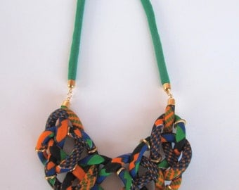 Kente Braided necklace, Sailors knot necklace, African jewelry, Green and orange