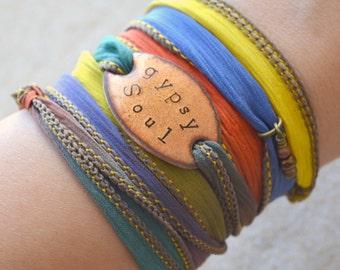 GYPSY SOUL Boho Silk Wrap Bracelet- Silk Ribbon Bracelet- Wrap bracelet- gypsy bracelet- BOHO, bohemian, boho jewelry