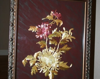 Chrysanthemum Flowers Original Straw Art Wall Decor