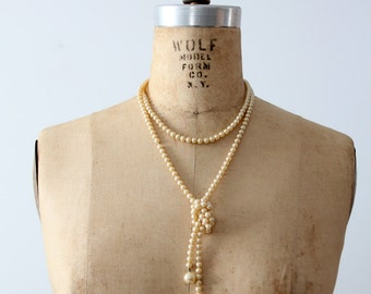 vintage faux pearl necklace, lariat flapper pearls, long necklace