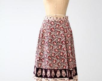 1970s India cotton wrap skirt, vintage block print skirt