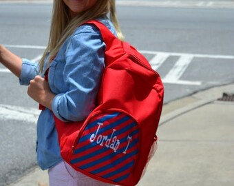 SALE Red Stripe Backpack - Bookbag - Toddler - Boys Back to School