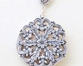 Locket, Silver Locket, Jewelry,Necklace,Pendant,Flower Locket,vintage style locket,Wedding Necklace,bridesmaid necklace