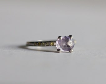 Rare Purple Natural Sapphire & Yellow Diamonds