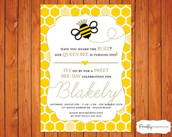 Queen Bee Birthday Invitation