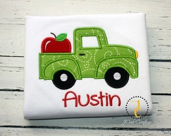 Back To School Shirt - Apple Birthday, Apple Party, Boys Truck Shirt, First Day of School, School Outfit, School Shirt, Coming Home Outfit