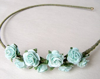 Robin's Egg Blue Roses Asymmetrical Headband