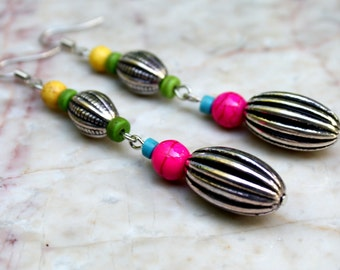 Metallic Turquoise Hot Pink and Long Dangle Earrings Boho Jewelry