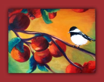 CHICKADEE, Original oil Painting and Acrylics too, bird, brilledant colors, chick-a-dee, tree, bright, branches, leaves, chick-a-dee