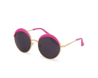 Round Black & Pink Grunge Hipster Retro 90s John Lennon Style Circle Fashion Summer Festival Sunglasses Birthday Gift