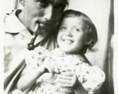 "Vintage Photo ""Giggles with Papa"" Smiling Girl Snapshot Photo Old Antique Photo Black & White Photograph Found Photo Paper Ephemera - 74"