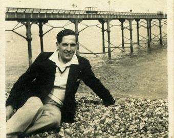 "Vintage Photo ""Perry at the Pier"" Beach Snapshot Photo Antique Photo Black & White Photograph Found Photo Paper Ephemera Vernacular - 147"