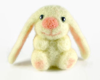 Easter Bunny - Needle Felted Bunny - Felt Bunny - Miniature Animal - Easter Decorations - White Bunny - Tiny Bunny