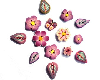 Daisy flower buttons, Leaf and Flower handmade buttons polymer clay Set of 14 in purple pink green white yellow, small mini handmade buttons