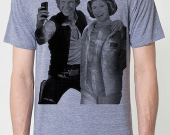 Star Wars selfie on mens t shirt- american apparel athletic gray, available in S,M, L ,XL, 2XL,  worldwide shipping