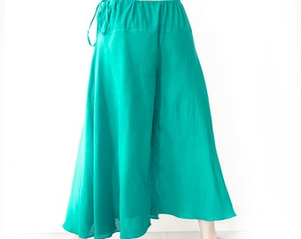Wide Leg Cotton Drawstring Waist Pants in Turquoise Blue