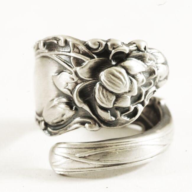 silver lotus ring spoon ring sterling silver lotus flower