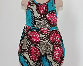 Playsuit in pink and blue African Print
