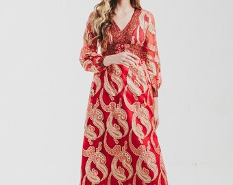 Vintage 60s Red Gold Metallic Dress/ Gypsy Dress / Maxi Dress / Party Maxi Dress/ Gypsy Goddess/ Empire Maxi Dress /1960s