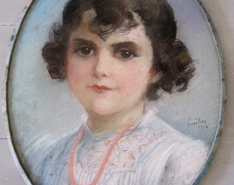 French Pastel Portrait of a Young Girl Dated 1916  & Signed