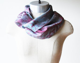 hand painted silk scarf, screen printed scarf, hand dyed, unique scarf, glacier berry