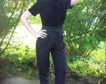 John Roberts Petites Black Velvet  Zip Up Belted Pantsuit One piece Jumpsuit