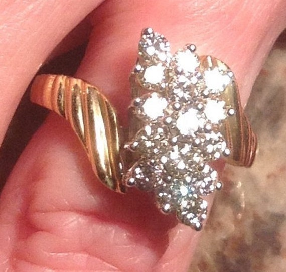 Sale 14k diamond waterfall ring tcw vjse for Waterfall design ring