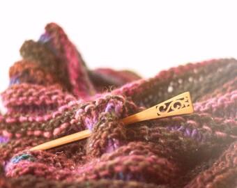 Shawl Pin - Wooden Shawl Pin - Flower Shawl Pin - Shawl Pin Flower - Handmade Shawl Pin - Hair Stick - Gifts for Knitters