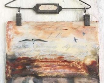 "Encaustic Art, Original Encaustic Painting- ""Back From the Sea"", Mixed Media Painting by Angela Petsis"