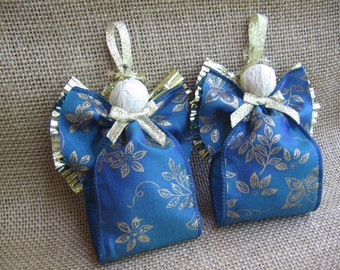 Gold Trimmed Fabric Angel Ornaments U-Pick Color Set of TWO Blue or Mauve Fabric Ribbon Angel Tree Ornaments SnowNoseCrafts
