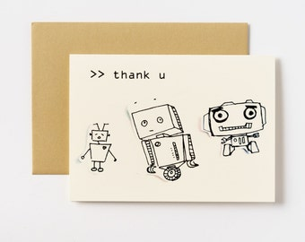Robot Thank You Greeting Cards - Set of 5