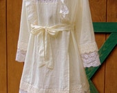 Ivory Refashioned Linen and Lace Pinafore Dress Tunic Top Romantic Boho SIZE SM
