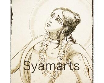 Nityananda avatar devotional pencil drawing home altars wall art Syamarts prints art cards woodblock meditation bhakti yoga