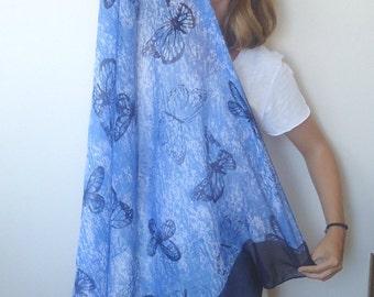 BUTTERFLY SCARF blue ,dark blue neckwarmer,cowl